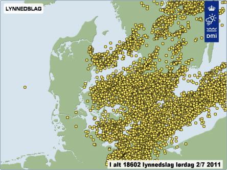 Ligtning hitting Sealand Denmark